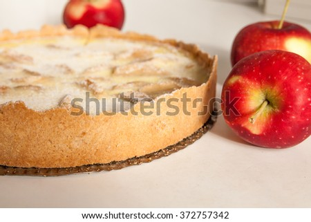 Traditional homemade Alsatian tart with apples and custard (Pie of Alsace)