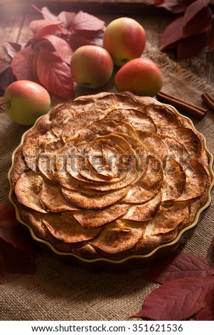 Traditional homemade apple pie winter holiday celebration sweet baked dessert food with cinnamon and apples on vintage table background. Autumn decor. Rustic style - stock photo