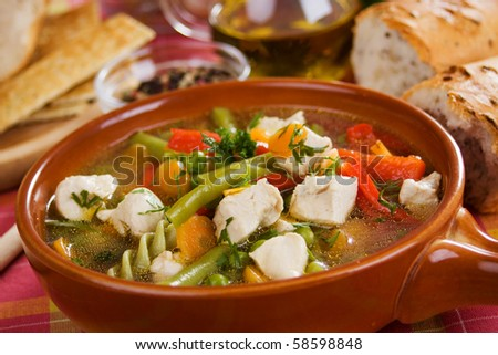 Traditional homemade soup with chicken meat and vegetable - stock photo