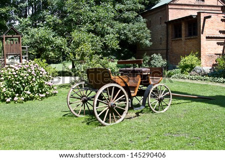 Traditional horse  carriage on natural background