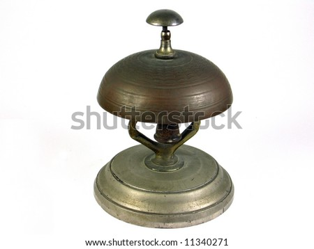 Traditional hotel reception service bell - Isolated on white - stock photo