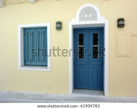 traditional  house door and window  in Greece - stock photo