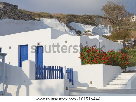 Traditional house from the cyclades on Santorini island of the aegean sea in Greece - stock photo