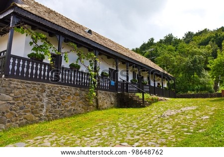 Traditional house in Holloko, Hungary. UNESCO World Heritage Site. - stock photo