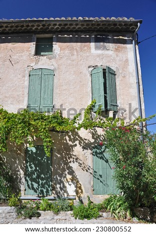 Traditional house in the ( Haute-Ville)  medieval city at Vaison La Romain, in the Vancluse, Provence, France. - stock photo