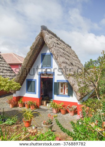 traditional house of a portuguese island named Madeira - stock photo