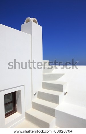 traditional house with steps in Santorini, Greece - stock photo