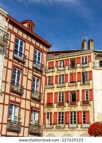 Traditional houses in Bayonne old town - France, Aquitaine - stock photo