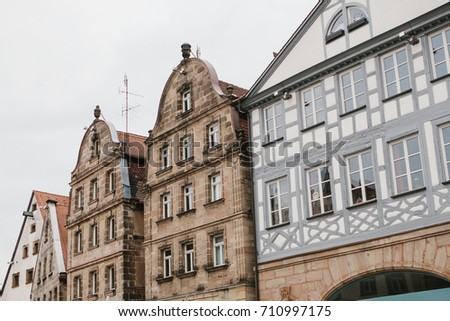 Traditional Houses In German Style The City Of Furth Bavaria Architecture