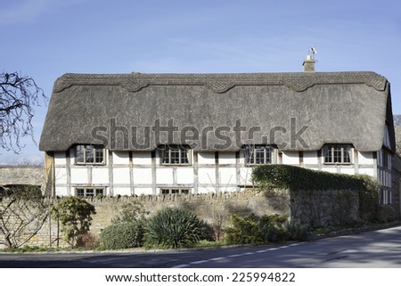 traditional houses in stanton village cotswolds gloucestershire uk  - stock photo
