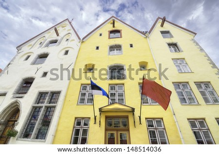 Traditional houses in the old medieval city of Tallinn, Estonia - stock photo