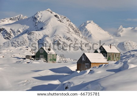 Traditional houses in the snowy remote village, Greenland