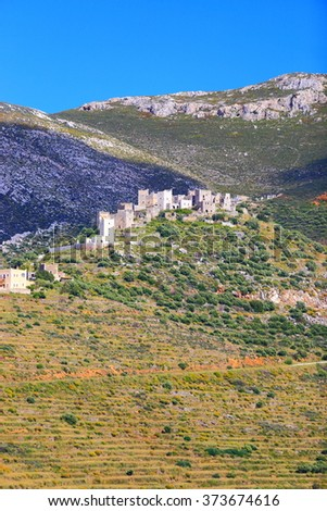 Traditional houses of a Greek village on a hilltop in Vatheia, Mani peninsula, Greece - stock photo