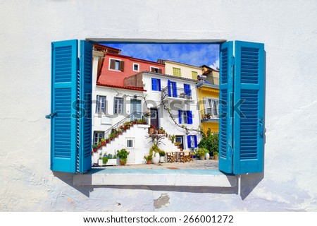 Traditional houses of Parga city, Epirus, North Greece  - stock photo