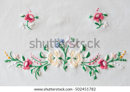 traditional Hungarian matyo embroidery motifs. Handmade clothe