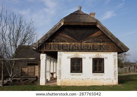 Traditional Hungarian village-house in Transdanubia with gallery and decorations