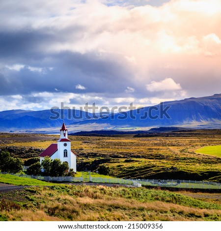Traditional Icelandic church near Helgafell Mountain in western Iceland - stock photo