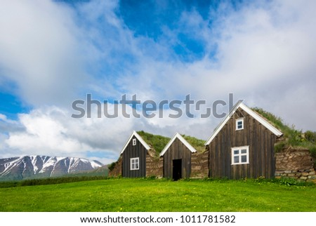 Traditional Icelandic houses with grass roof in Holar, IcelandMuseum, Iceland