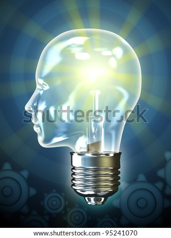 Traditional incandescent light bulb in the shape of an human head. Digital illustration. - stock photo