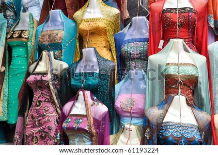 Traditional Indian Sari Dress for Sale at Street  Market - stock photo