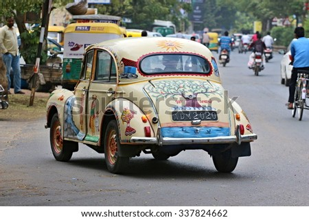 Traditional Indian vehicle in Ahmedabad. Photographing October 25, 2015 in Ahmedabad, India - stock photo