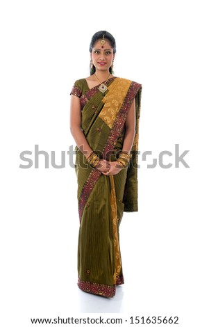 traditional indian woman in saree with white background full body - stock photo