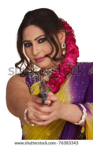 traditional indian woman with gun