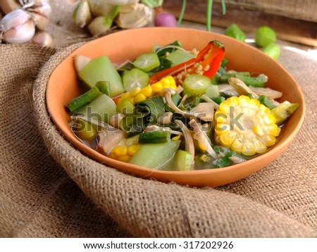 Traditional Indonesian vegetable sour soup.