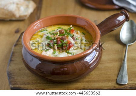 Traditional Irish chowder topped with herbs