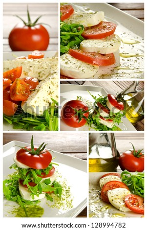 Traditional Italian appetizer, caprese salad - stock photo