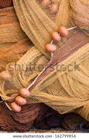 Traditional Italian fishing nets in Monterrosso, Italy. - stock photo