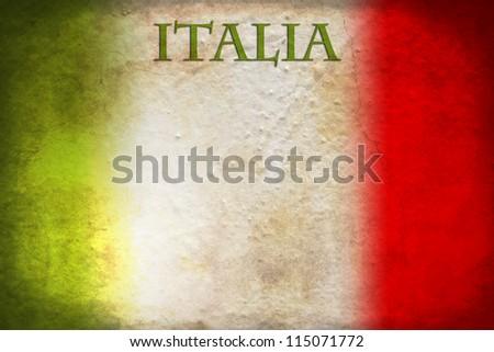 Traditional Italian flag on grunge background - stock photo