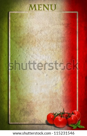 Traditional Italian flag with tomatoes and basil on blank frame
