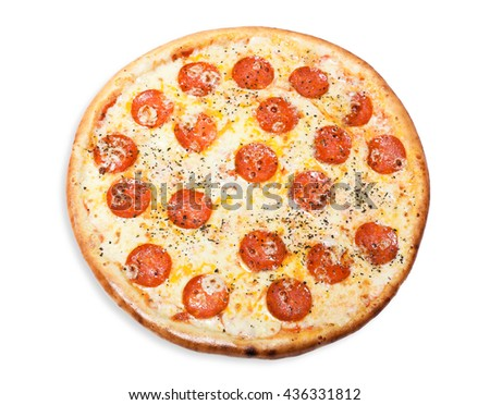 traditional Italian food: pizza with thinly sliced pepperoni.