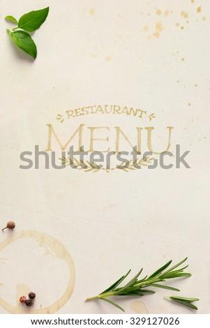 Traditional Italian home restaurant menu background - stock photo