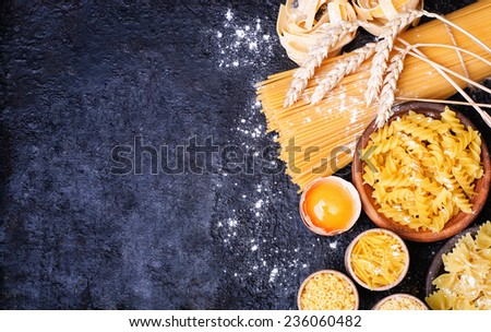 Traditional italian homemade pasta with ingredients - stock photo