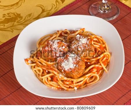 Traditional Italian meal of spaghetti and meatballs - stock photo