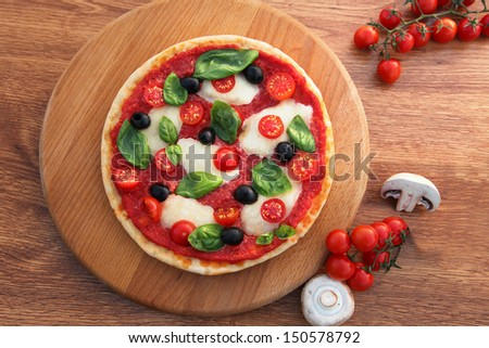 Traditional Italian pizza with tricolor