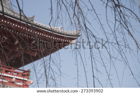 Traditional Japanese Architecture, Sensoji Temple, Asakusa; Tokyo, Japan (Photo Filter) - stock photo