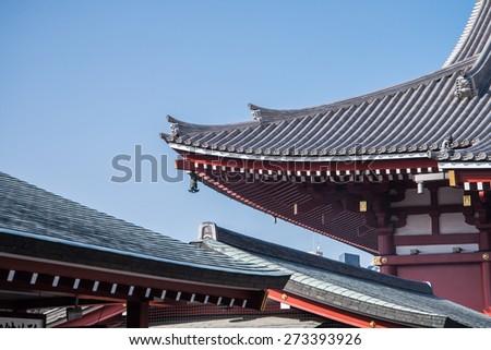 Traditional Japanese Architecture, Sensoji Temple, Asakusa; Tokyo, Japan (Photo Filter) - stock photo