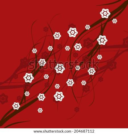 Traditional Japanese cherry blossom design  - stock photo