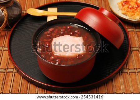 Traditional Japanese Dessert - Red bean sweet soup with mochi.                                                                            - stock photo