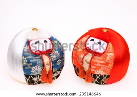 traditional Japanese dolls for festival on white background - stock photo
