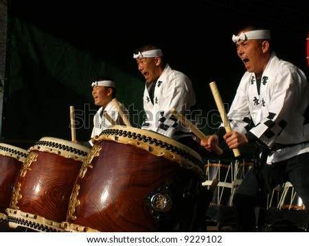 Traditional Japanese drummer in a music festival - stock photo