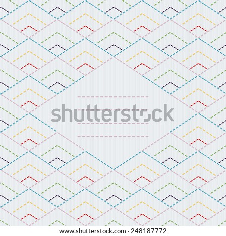 Traditional Japanese Embroidery Ornament with rhombuses and place for your text.  Text frame. Sashiko motif - diamonds. Abstract backdrop. Needlework texture. Can be used as seamless pattern.