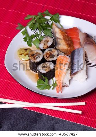 Traditional japanese food - sushi - stock photo