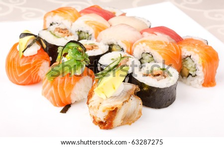 Crab stick sushi seaweed sushi stock photo 187439654 for Abis japanese traditional cuisine