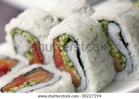 traditional japanese food with rice fish and seaweed - stock photo