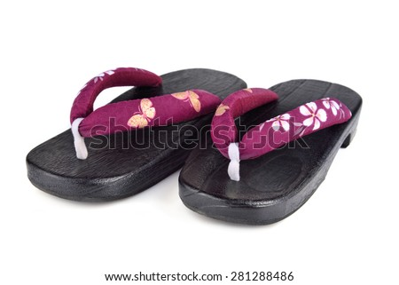 Traditional japanese sandals Zori on a white background - stock photo
