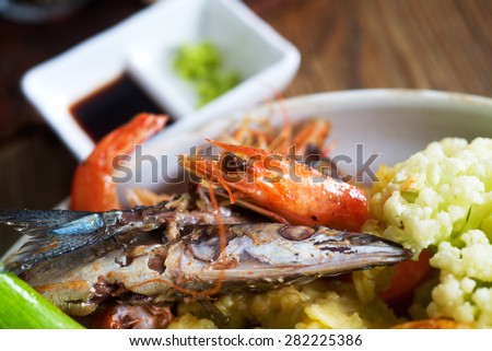 Traditional Japanese vegetable and seafood tempura. Closeup photo